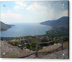 Mountain And Sea View In Greece Acrylic Print