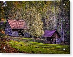 Mountain Barns In North Carolina Acrylic Print by Debra and Dave Vanderlaan