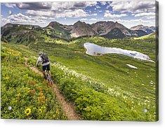Mountain Biker On Green Trail Acrylic Print by Image Source RF/©Whit Richardson
