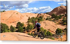 Mountain Biking Moab Slickrock Trail - Utah Acrylic Print by Gary Whitton