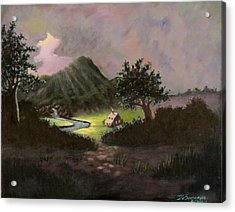 Acrylic Print featuring the painting Mountain Cabin by Janet Greer Sammons