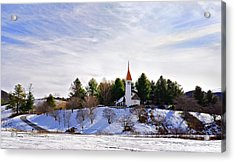 Mountain Church In Winter Acrylic Print