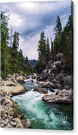 Mountain Emerald River Photography Print Acrylic Print by Jerry Cowart