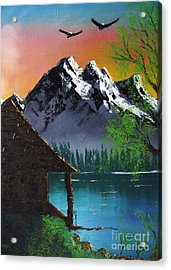Acrylic Print featuring the painting Mountain Lake Cabin W Eagles by Marianne NANA Betts