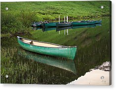 Mountain Lake Canoe Acrylic Print by Aaron Spong