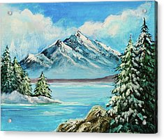 Acrylic Print featuring the painting Mountain Lake In Winter Original Painting Forsale by Bob and Nadine Johnston