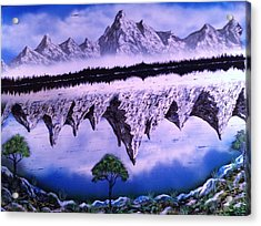 Acrylic Print featuring the painting Mountain Lake by Michael Rucker