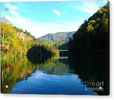 Mountain Lake Reflections Acrylic Print by Lorraine Heath