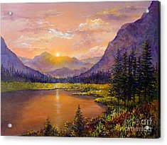 Acrylic Print featuring the painting Mountain Lake Sunset by Lou Ann Bagnall