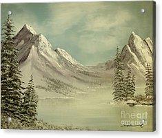Mountain Lake Winter Scene Acrylic Print