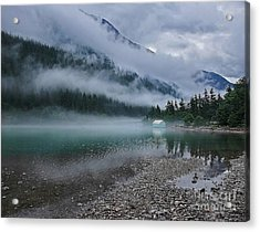 Mountain Lake With Heavy Fog Ross Lake Washington Acrylic Print
