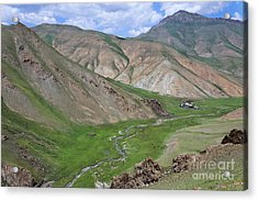 Mountain Landscape In The Tash Rabat Valley Of Kyrgyzstan Acrylic Print by Robert Preston