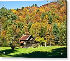 Acrylic Print featuring the photograph Mountain Log Home In Autumn by Susan Leggett