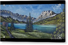 Mountain Painting A La Bob Ross Acrylic Print by Bruno Santoro