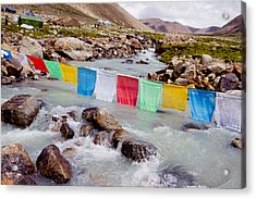 Mountain River And Buddhist Flags Lungta  Acrylic Print