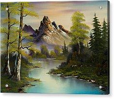 Mountain Evening Acrylic Print by C Steele
