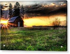 Mountain Sun Behind Barn Acrylic Print by Derek Haller