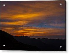 Mountain Sunset Acrylic Print by David Cote