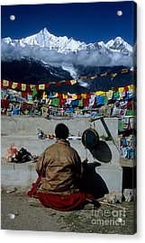 Mountain Worship In The Himalaya Acrylic Print by James Brunker