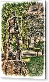 Acrylic Print featuring the photograph Mountaineer Statue At Lair by Dan Friend