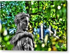 Mountaineer Statue In Trees Acrylic Print by Dan Friend