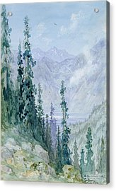 Mountainous Landscape Acrylic Print by Gustave Dore
