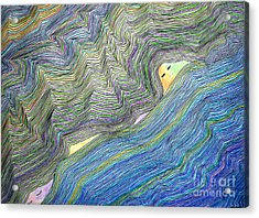 Acrylic Print featuring the drawing Mountains And Oceans by Mukta Gupta