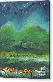 Acrylic Print featuring the painting Mountains At Night by Holly Carmichael