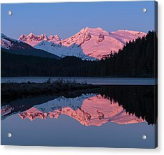 Mountains Glowing Pink At Sunrise Acrylic Print