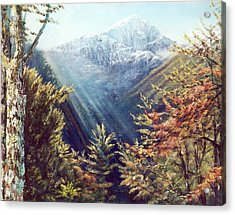 Mountains In The Mist Acrylic Print by Peter Jean Caley