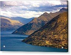 Mountains Meet Lake Acrylic Print by Stuart Litoff