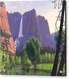 Mountains Waterfall Stream Western Landscape - Square Format Acrylic Print by Walt Curlee