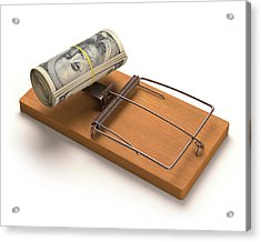 Mouse Trap With Bank Notes Acrylic Print by Ktsdesign