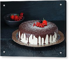 Mousse Cake With Chocolate Icing And Acrylic Print by Eugene Mymrin