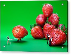 Acrylic Print featuring the photograph Moving Strawberries To Depict Friction Food Physics by Paul Ge