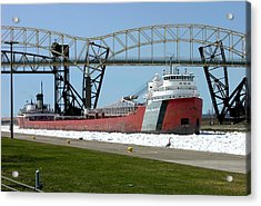 Moving Through The Ice To The Soo Locks Acrylic Print by Keith Stokes