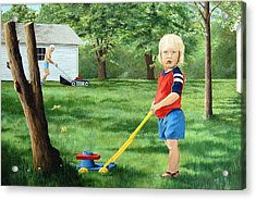 Mowing Acrylic Print by AnnaJo Vahle