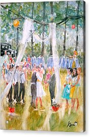 Acrylic Print featuring the painting Mr. And Mrs. Matt Parker by Gertrude Palmer