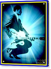 Mr Chuck Berry Blueberry Hill Style Edited Acrylic Print by Kelly Awad