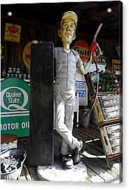 Mr Gas Pump Mechanic Acrylic Print by Kim Galluzzo Wozniak