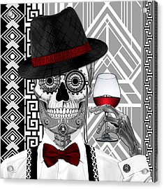 Mr. J.d. Vanderbone - Day Of The Dead 1920's Sugar Skull - Copyrighted Acrylic Print by Christopher Beikmann