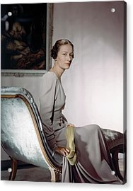 Mrs. Cameron Clark Sitting On A Chaise Lounge Acrylic Print by Horst P. Horst
