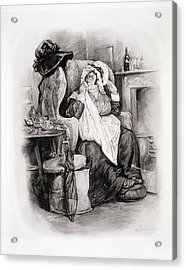 Mrs Gamp, From Charles Dickens A Gossip Acrylic Print by Frederick Barnard