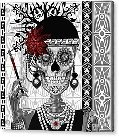 Mrs. Gloria Vanderbone - Day Of The Dead 1920's Flapper Girl Sugar Skull - Copyrighted Acrylic Print by Christopher Beikmann