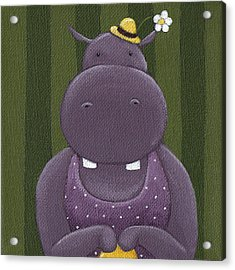 Mrs. Hippo Acrylic Print by Christy Beckwith