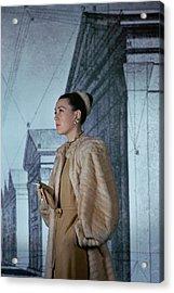 Mrs. Hugh Chisholm Wearing A Fur Coat Acrylic Print by John Rawlings