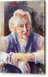 Mrs K. Remembering Acrylic Print by Barbara Pommerenke