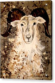 Acrylic Print featuring the painting Powell Mountain Goat by Amy Sorrell