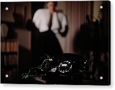Mrs. Tyron Behind A Telephone Acrylic Print by John Rawlings