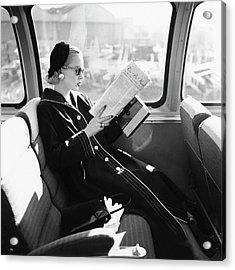 Mrs. William Mcmanus Reading On A Train Acrylic Print by Leombruno-Bodi
